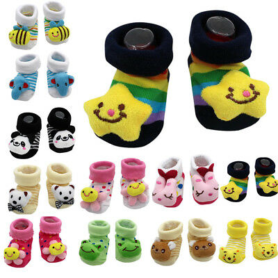Lovely Cute Cartoon Newborn Baby Girls Boys Anti-slip Socks Slipper Shoes Boots