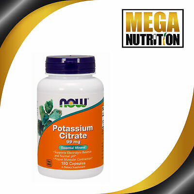 NOW Foods Potassium Citrate 99mg 180 Capsule | Electrolyte Balance and Normal pH