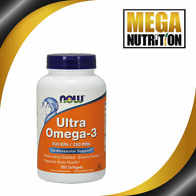 NOW Foods Ultra Omega 3 500 EPA/250 DHA 180 Softgels | Fish Oils Cardio Support