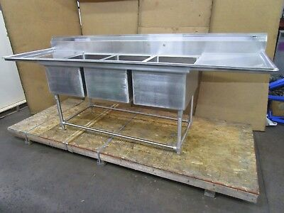 "EAGLE 9-1/2' X 32"" 3 BAY COMPARTMENT STAINLESS SINK 28""x 20""x 14"" DEEP BOWL"