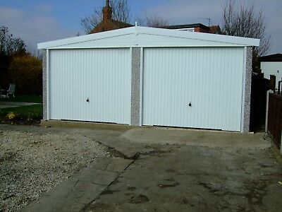 APEX ROOF DOUBLE CONCRETE GARAGE - PVCu MAINTENANCE FREE