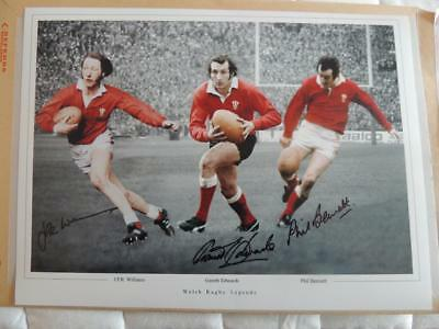 Signed 16 x 12 Photo Montage Welsh Rugby Edwards, Williams, Bennett  Proof  COA