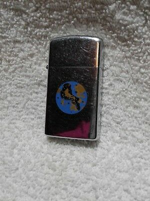 Vintage Year 1970 Polished Chrome Zippo Slim Lighter With ARIES Horoscope Sign