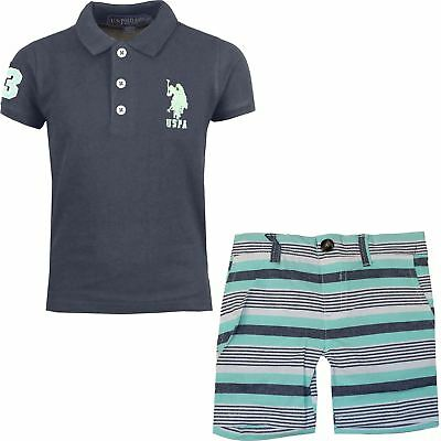 New US Polo Assn Boys Kids Toddler Summer T-Shirt & Shorts Set 2-12 Years