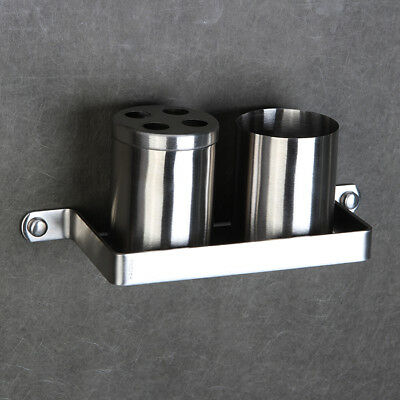 SUS Bathroom Toothbrush Holder Cup Tumbler Brushed Nickel Wall Mounted Shelf E17