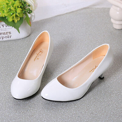 Womens Low Mid Kitten Heels Slip On Court Shoes Ladies Pumps Office 6A
