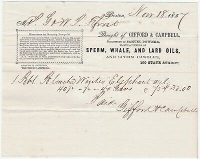 RARE Advertising Billhead 1857 Gifford Campbell Boston MA Whale Oil Robert Frost