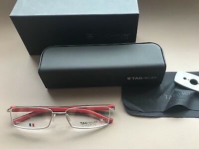 New Authentic TAG HEUER TH 8006 Silver Black Red Eyeglasses Frames Rectangle