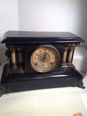 1890s Seth Thomas Mantle Mantel Shelf Clock, Fancy Lion Heads With Columns 4 1/2