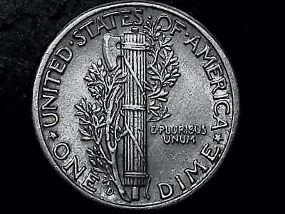 1942 Denver Mint Mercury Dime 90% Silver   In Very  Good Band Condition++