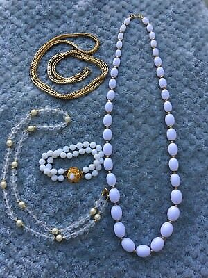 Lot Of 4 Necklaces Bracelet Jewelry Gold White Imitaion Pearl Gold Tone Chain