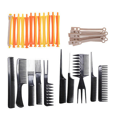 12pcs 1.6x9 cm Hair Curling Wavy Perm Rod with Pro Barber Haircut Combs Kit