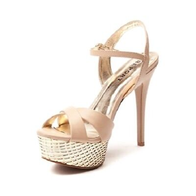 Report Womens Ankle Strap High Heel Vallerie Beige and Gold Choose Your Size