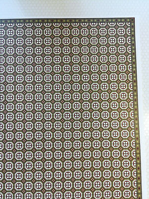 Dollhouse Brodnax Brown & Green Faux Tile Flooring Diamonds Squares 1:12 Scale