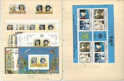 Virgin Islands & St Lucia Stamp Collection, Queen Elizabeth on 3 Stock Pages