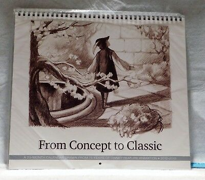 Disney D23 FROM CONCEPT TO CLASSIC 23 Month Calendar 2012 2013 NEW NEVER OPENED