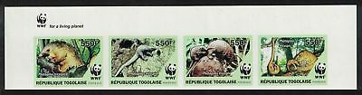 Togo WWF Three-cusped Pangolin Imperf Top Strip of 4v WWF Logo