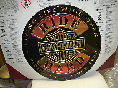 Harley Davidson Motorcycle Round Metal Sign-Ride Hard - Nice