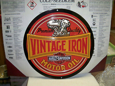 Harley Davidson Motorcycle Round Metal Sign-Vintage Iron- Nice-New