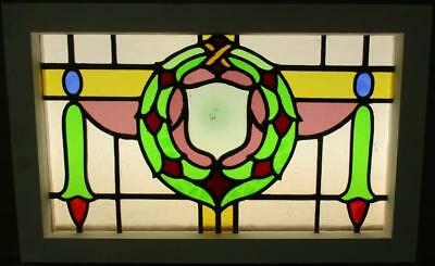 "MID SIZED OLD ENGLISH LEADED STAINED GLASS WINDOW Stunning Wreath 22.5"" x 14"""