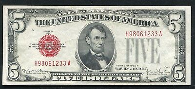 1928-F $5 Five Dollars Red Seal Legal Tender United States Note About Unc