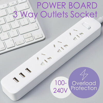 3 Ways Power Board Outlets Socket 3 USB Charging Charger Ports Surge Protector