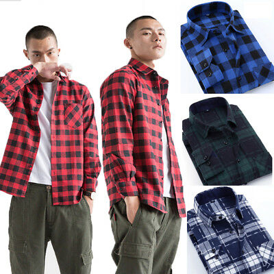 AU Stock Fashion Mens Check Linen Plaid Flannel Brushed Cotton Lumberjack Causal