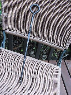 """vintage WROUGHT IRON skewer~hand made~spiral stake~spike~14"""" long~kitchen~grill~"""