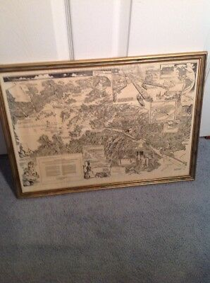 PANAMA CANAL MAP 1946 Vintage Framed