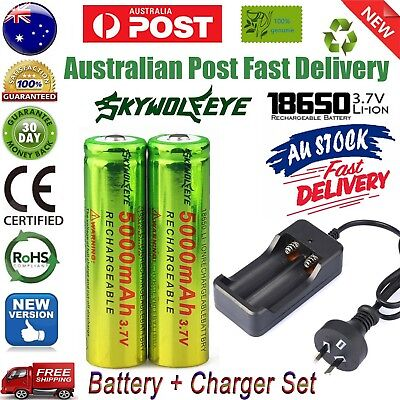 Bluk 3.7V 5000mAh 18650 Lithium Rechargeable Batteries + Free AU Plug Charger