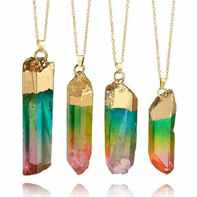 Rainbow Stone Natural Crystal Chakra Rock Golden Plated Quartz Pendant Necklace