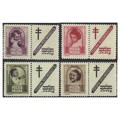 Poland 1948 Anti-tuberculosis Fund Baby Set 4 With Labels Michel 511/4 MLH(4-22)
