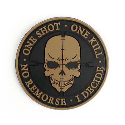 One Shot One Kill No Remorse I Decide Tactical Military Morale 3D Pvc Patch Y AU
