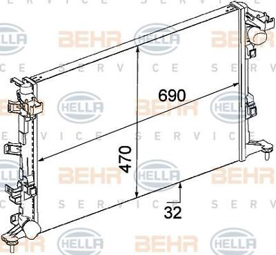 8MK 376 773-401 HELLA Radiator  engine cooling