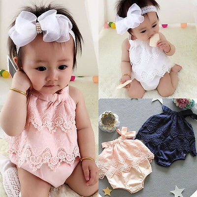 Canis Newborn Baby Girls Lace Romper Bodysuit Jumpsuit Outfits Sunsuit Clothes