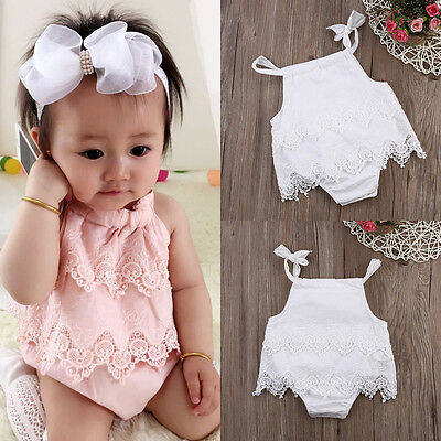 AU Canis Toddler Baby Girls Lace Flower Romper Bodysuit Jumpsuit Outfits Clothes