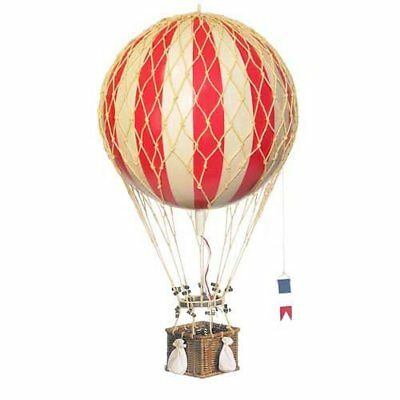 Hot Air Balloon Home Decor Floating the Skies with a Real Woven Reed Basket Red