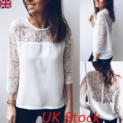 UK Fashion Women Casual Lace Backless Tops Blouse Ladies Summer Loose Shirt Tops