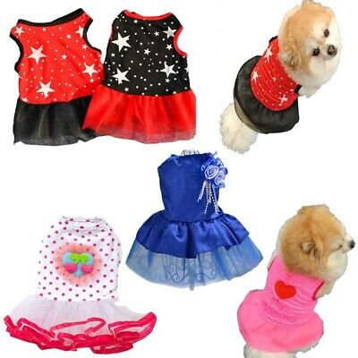 Small Puppy Pet Dog Cat Bow Lace Skirt  Tutu Dress Princess Costume NEW Apparel