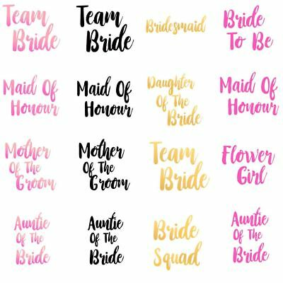 Bridesmaid Bride To Be Iron on T Shirt Transfer Flower Girl Hen Do Party Crew