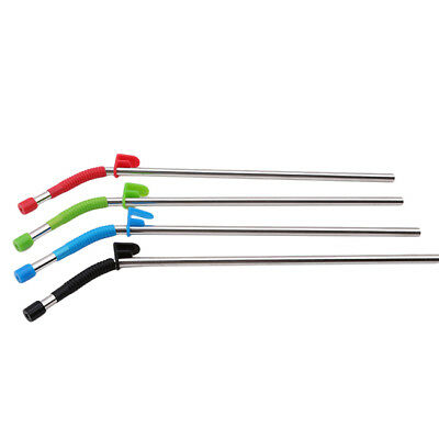 Set of 4 Stainless Steel Metal Straws with Cleaning Brush and Silicon Covers 6A
