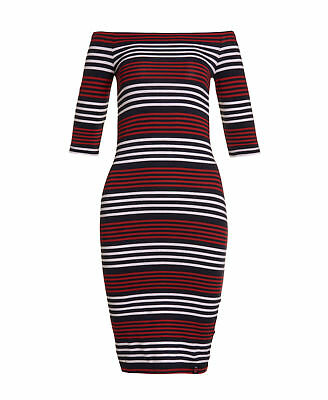 New Womens Superdry Factory Second Breton Bardot Stripe Dress Navy/Red/White