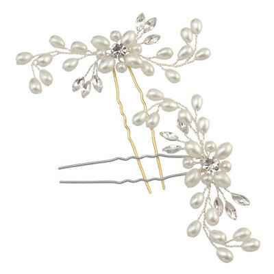 Wedding Bridal Silver Pearl Rhinestone Hair Pins Stylish Crystal Floral Clips