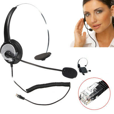 RJ11 Call Center Corded Operator Telephone Headset Headphone with Microphone US