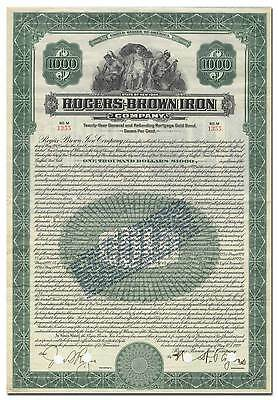 Rogers-Brown Iron Company Bond Certificate
