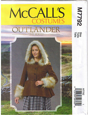Hood Peplum Jacket Fur Trim Outlander Claire Costume Sewing Pattern 6 8 10 12 14