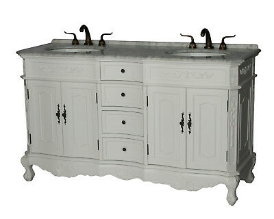 60-Inch Antique Style Double Sink Bathroom Vanity Model 1905-60 WK
