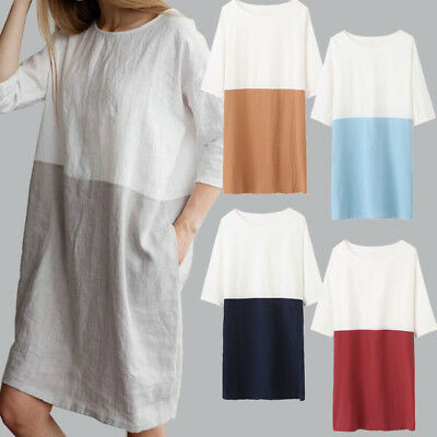 UK Womens Ladies Pure Color Casual Baggy Linen Tunic Blouse Tops Dress Size 8-16