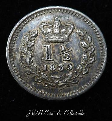 1835 William IV Silver Threehalfpence Coin - Nice Condition - Very Small Coin