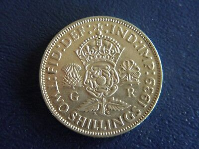 1939 British Silver Florin-2 Shillings -XF Condition-Stk#18-564